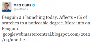 Screenshot - Tweet von Matt Cutts zum neuen Google-Update Penguin 2.1