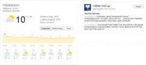 Screenshot von Google Wetter und Google+ Verknüpfung
