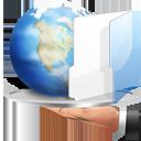 Bild zeigt Hand mit Tablett auf der eine Weltkugel und Arbeitsmappe liegt.