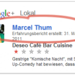 Screenshot: Öffentliche Google+ Local Bewertung