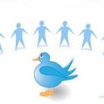 Twitter Vogel und Community Hand in Hand im Halbkreis