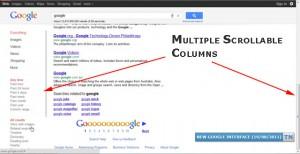 Screenshot: Google im Zwei-Spalten-Layout