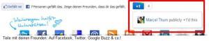 Screenshot - Google+ Button in Website integriert