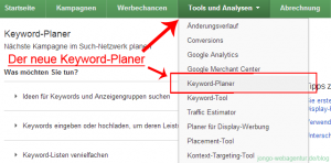 Screenshot Google Adwords Keyword-Planer aufrufen
