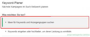"""Screenshot Adwords Keyword-Planer """"Ideen für Keywords und Anzeigengruppen suchen"""""""