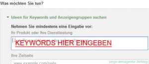 Screenshot Adwords Keyword-Planer: Eingabemaske für das gewünschte Keyword