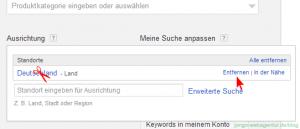 Screenshot Adwords Keyword-Planer: Land entferne und Ort eingeben