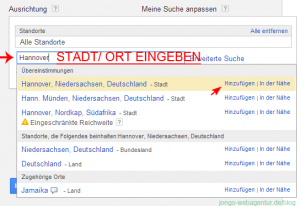 Screenshot Adwords Keyword-Planer: Zielort oder Zielregion für die Keywordanalyse eingeben
