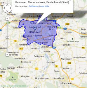 Screenshot Adwords Keyword-Planer: Visualisierung der Stadtgrenzen auf Basis der Daten aus Google Maps.