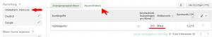 Screenshot Adwords Keyword-Planer: Ergebnis der Keywordanalyse für die lokale Suchmaschinenoptimierung
