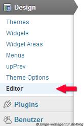 Screenshot WordPress Menü Editor