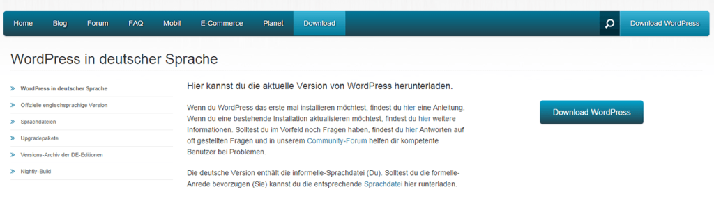 Screenshot WordPress Download